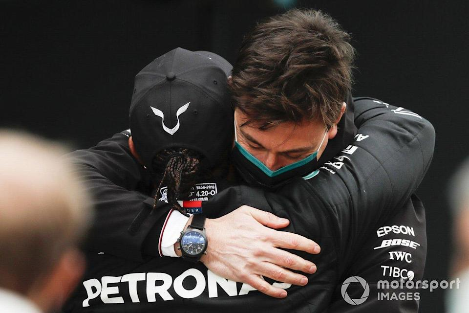 "Lewis Hamilton, Mercedes-AMG F1, 1st position, and Toto Wolff, Executive Director (Business), Mercedes AMG celebrate in Parc Ferme<span class=""copyright"">Charles Coates / Motorsport Images</span>"