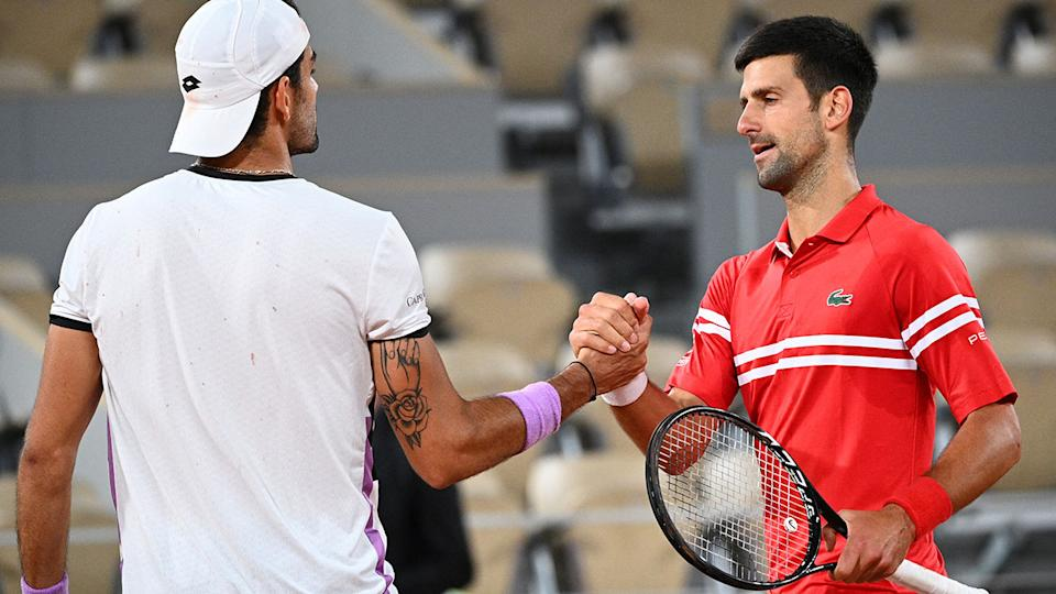 Matteo Berrettini and Novak Djokovic, pictured here after their French Open clash.