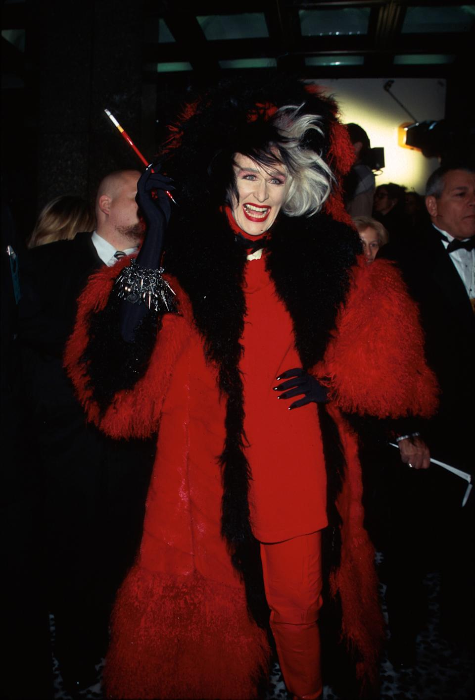 Actress Glenn Close, dressed as character Cruella DeVille, at premiere of her film 101 Dalmatians.  (Photo by Dave Allocca/DMI/The LIFE Picture Collection via Getty Images)