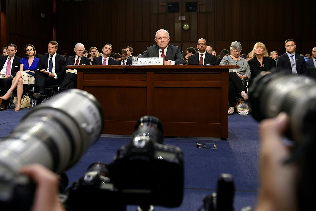 <p>Attorney General Jeff Sessions testifies during a U.S. Senate Select Committee on Intelligence hearing on Capitol Hill in Washington, DC, June 13, 2017. (Photo: Saul Loeb/AFP/Getty Images) </p>