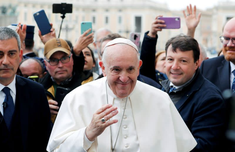 FILE PHOTO: Pope Francis holds the weekly general audience at Vatican