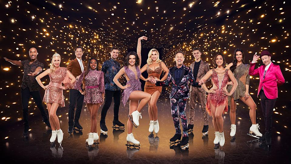 Dancing on Ice contestants Colin Jackson CBE, Denise Van Outen, Graham Bell, Lady Leshurr, Sonny Jay, Faye Brookes, Billie Shepherd, Jason Donovan, Joe-Warren Plant, Myleene Klass, Rebekhah Vardy and Rufus Hound. Dancing On Ice (ITV)