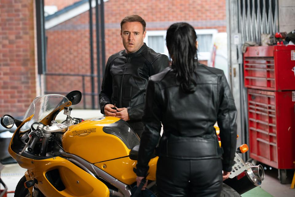 FROM ITV  STRICT EMBARGO - No Use Before Tuesday 15th June 2021  Coronation Street - Ep 1035859  Wednesday 23rd June 2021  Tyrone Dobbs [ALAN HALSAL] is forced to admit to Alina Pop [RUXANDRA POROJNICU] that he failed his motorbike test. Fiz Stape [JENNIE McALPINE] is highly amused.  Picture contact David.crook@itv.com   Photographer - Danielle Baguley  This photograph is (C) ITV Plc and can only be reproduced for editorial purposes directly in connection with the programme or event mentioned above, or ITV plc. Once made available by ITV plc Picture Desk, this photograph can be reproduced once only up until the transmission [TX] date and no reproduction fee will be charged. Any subsequent usage may incur a fee. This photograph must not be manipulated [excluding basic cropping] in a manner which alters the visual appearance of the person photographed deemed detrimental or inappropriate by ITV plc Picture Desk. This photograph must not be syndicated to any other company, publication or website, or permanently archived, without the express written permission of ITV Picture Desk. Full Terms and conditions are available on  www.itv.com/presscentre/itvpictures/terms