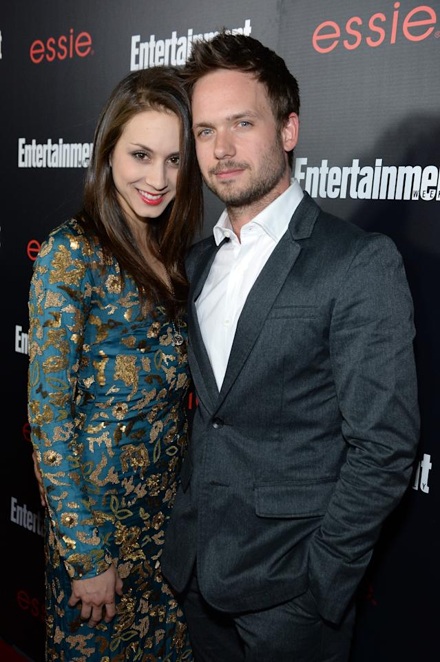 LOS ANGELES, CA - JANUARY 17: Actors Troian Bellisario (L) and Patrick J. Adams attends the Entertainment Weekly celebration honoring this year's SAG Awards nominees sponsored by TNT & TBS and essie at Chateau Marmont on January 17, 2014 in Los Angeles, California. (Photo by Dimitrios Kambouris/Getty Images for Entertainment Weekly)