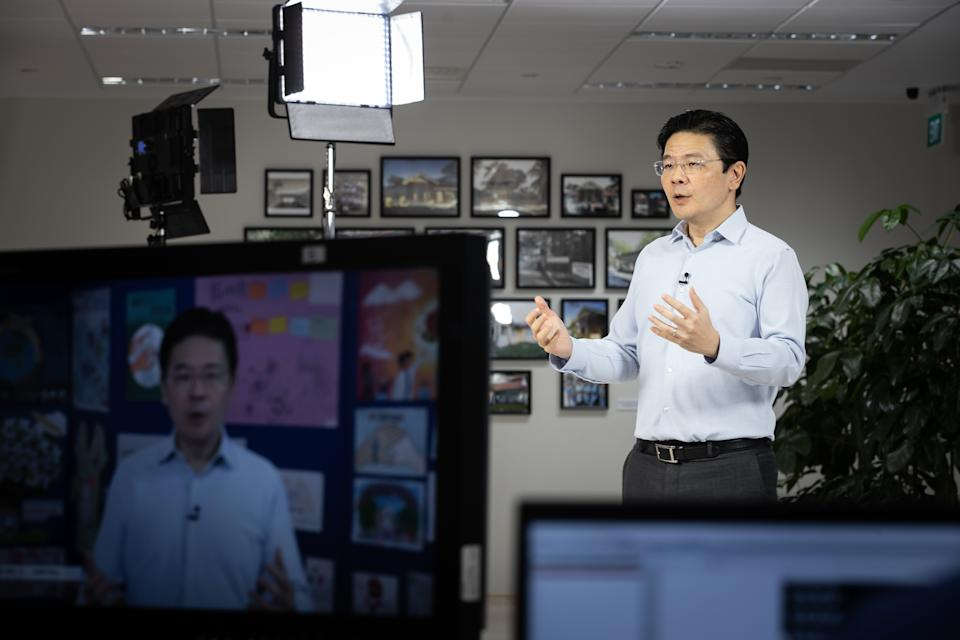 Minister Lawrence Wong delivering a national broadcast on 'Living with COVID-19' on 9 June, 2020.(PHOTO: MCI)