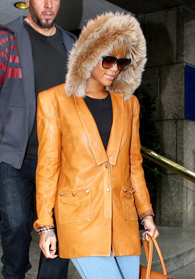 """Kanye's """"Run This Town"""" pal, Rihanna, committed a fashion faux pas with this furry hooded jacket in London. Gotcha Images/<a href=""""http://www.splashnewsonline.com"""" target=""""new"""">Splash News</a> - February 26, 2010"""