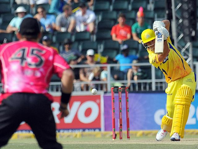 The Chennai Super Kings in action against Sydney at the CLT20 (Getty)