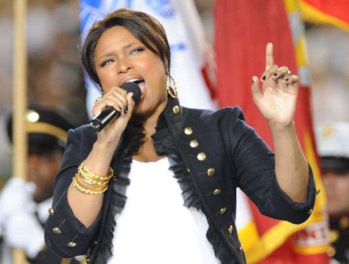 Singer Jennifer Hudson performs the national anthem during the pre-game show prior to the start of Super Bowl XLIII between the Arizona Cardinals and the Pittsburgh Steelers on February 1, 2009 at Raymond James Stadium in Tampa, Florida.