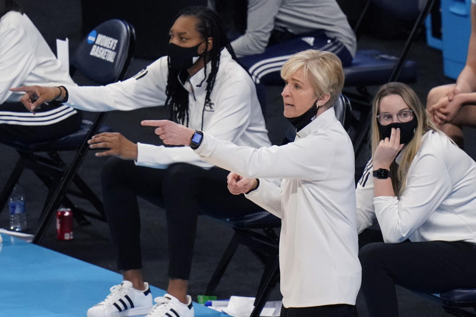 Georgia Tech head coach Neil Fortner gives direction to her team during the second half of a college basketball game against South Carolina in the Sweet Sixteen round of the women's NCAA tournament at the Alamodome in San Antonio, Sunday, March 28, 2021. (AP Photo/Eric Gay)