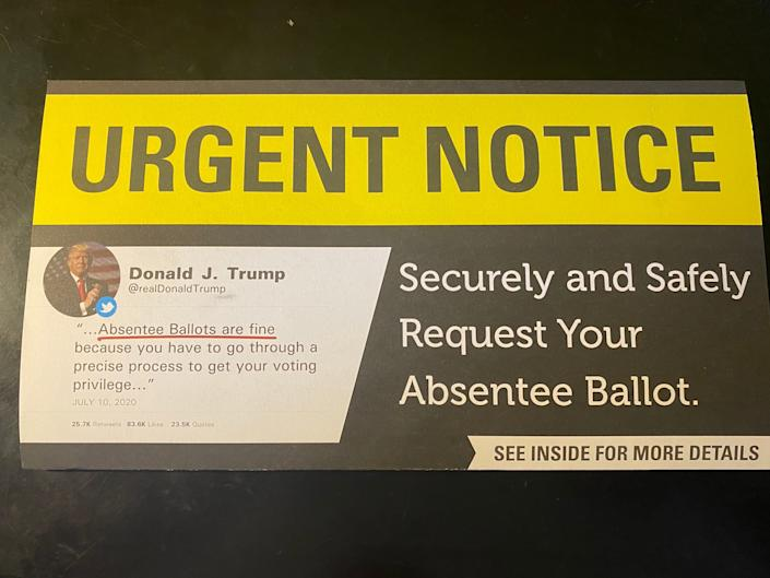 The South Carolina GOP is sending out a mailer that manipulates a tweet from President Donald Trump to make it appear that he supports voting by mail. (Photo: South Carolina GOP mailer)