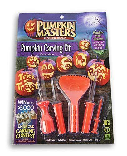 """<p><strong>Pumpkin Masters</strong></p><p>amazon.com</p><p><strong>$7.99</strong></p><p><a href=""""https://www.amazon.com/dp/B07H38D32Y?tag=syn-yahoo-20&ascsubtag=%5Bartid%7C2164.g.36719588%5Bsrc%7Cyahoo-us"""" rel=""""nofollow noopener"""" target=""""_blank"""" data-ylk=""""slk:Shop Now"""" class=""""link rapid-noclick-resp"""">Shop Now</a></p><p>Wet one of the ten stencils included in this kit, then apply it to the exterior of your pumpkin to make the carving process way less intimidating. Your kids will have a great time picking out the designs they love most.</p>"""