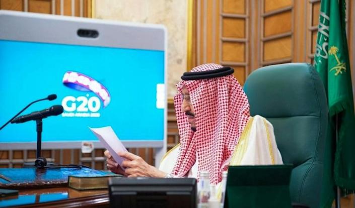 Saudi Arabia's King Salman chaired last week's emergency G20 videoconference which pledged a 'united front' in the fight against the coronavirus (AFP Photo/Bandar AL-JALOUD)
