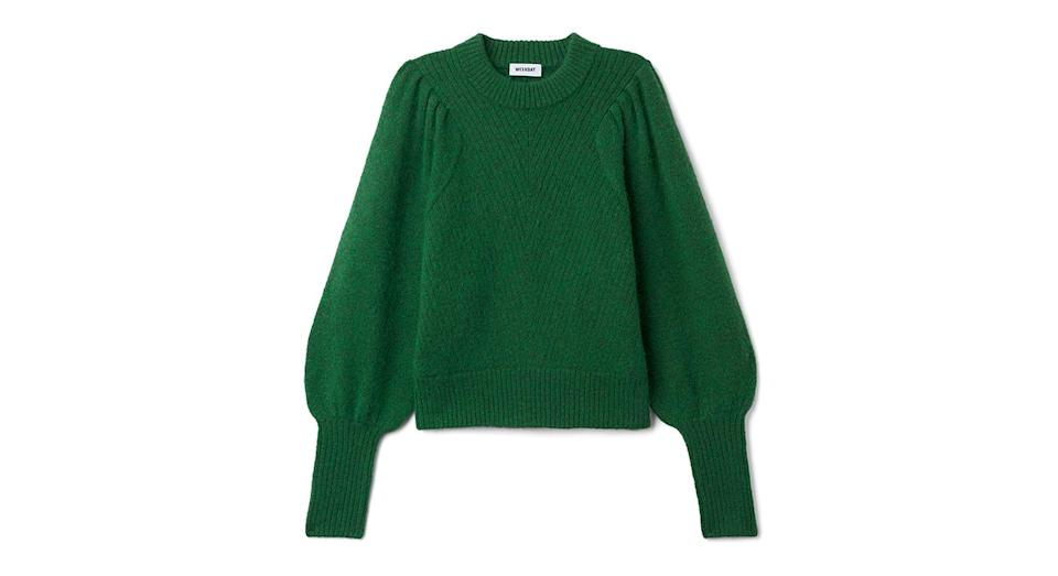 """<p>A bright green jumper will suit just about everyone. Trust us. <a rel=""""nofollow noopener"""" href=""""https://www.weekday.com/en_gbp/women/get-the-latest/new-arrivals/_jcr_content/subdepartmentPar/productlisting_86054396.products/product.duet-sweater-dark-green.0557885002.html"""" target=""""_blank"""" data-ylk=""""slk:Buy here."""" class=""""link rapid-noclick-resp""""><em>Buy here.</em></a> </p>"""