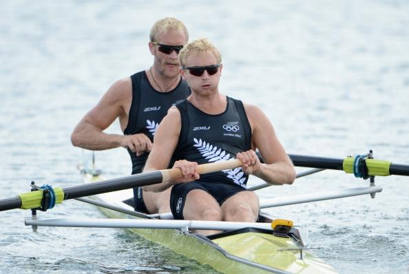 WINDSOR, ENGLAND - JULY 28:  Eric Murray and Hamish Bond of New Zealand compete in the Men's pair Heat 1  on Day 1 of the London 2012 Olympic Games at Eton Dorney on July 28, 2012 in Windsor, England.  (Photo by Harry How/Getty Images)