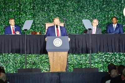 President Trump speaks during the 400th Anniversary Joint Commemorative Session of the Virginia General Assembly on July 30, 2019 at Jamestown.