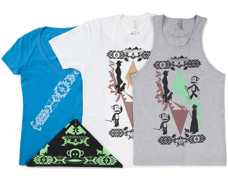 This undated image provided by Paul Frank Industries Inc. shows a series of T-shirts designed by Dustin Martin, a member of the Navajo Nation. Paul Frank collaborated with Martin and three other Native American artists and designers to create a new collection that was unveiled Friday, Aug. 16, 2013, at the SWAIA Indian Market in Santa Fe, N.M. (AP Photo/Paul Frank Industries Inc.)