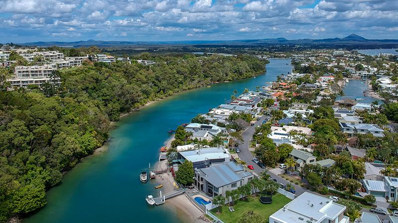 Picture of the Noosa River, in Noosa taken from a drone in the main hub of Noosa Heads. The area where Airbnb hosts may be forced to rip out their second kitchens.