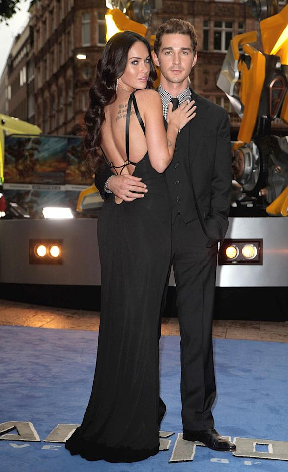 """<a href=""""http://movies.yahoo.com/movie/contributor/1808488000"""">Megan Fox</a> and <a href=""""http://movies.yahoo.com/movie/contributor/1804503925"""">Shia LaBeouf</a> at the London premiere of <a href=""""http://movies.yahoo.com/movie/1809943432/info"""">Transformers: Revenge of the Fallen</a> - 06/15/2009"""