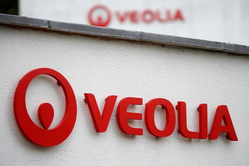 A Veolia logo is seen at the Veolia Household Waste Recycling headquarters in Lezennes