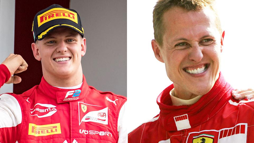Mick Schumacher is pictured here alongside an old photo of his F1 legend father, Michael.