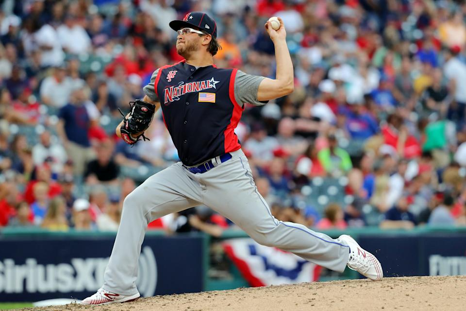 CLEVELAND, OH - JULY 07:  Anthony Kay #27 of the National League Futures Team pitches during the SiriusXM All-Star Futures Game at Progressive Field on Sunday, July 7, 2019 in Cleveland, Ohio. (Photo by Alex Trautwig/MLB Photos via Getty Images)