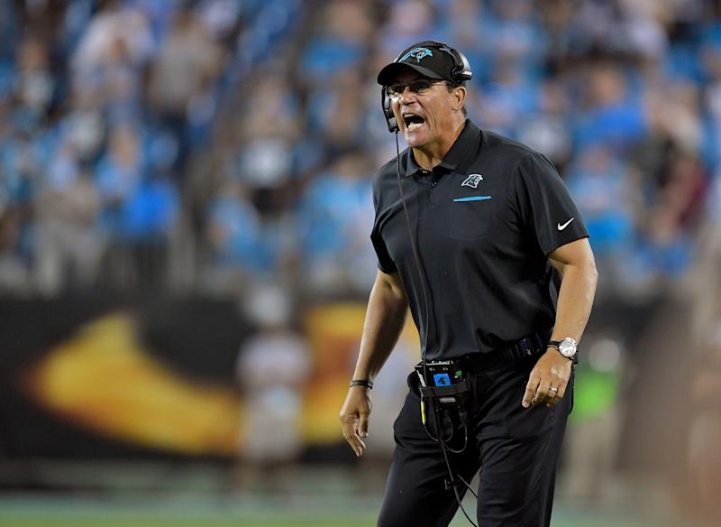 Ron Rivera was done answering questions about Cam Newton, even if reporters weren't done asking them. (Photo by Grant Halverson/Getty Images)