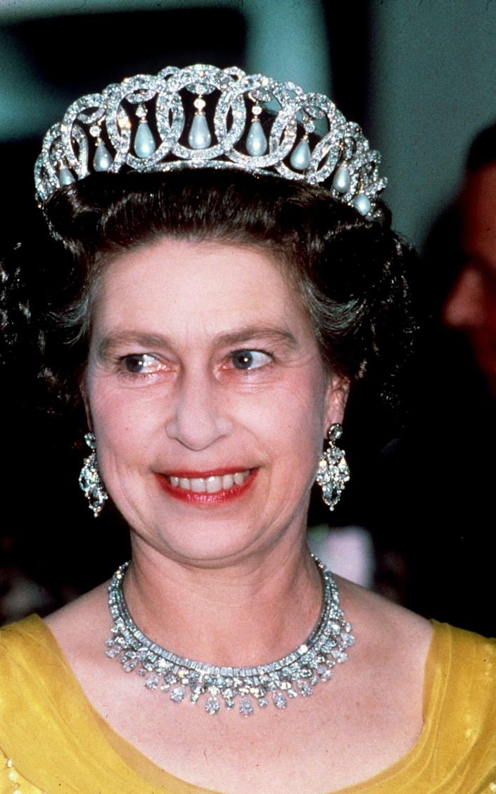 The Queen wears the Grand Duchess Vladimir tiara - Rex Features