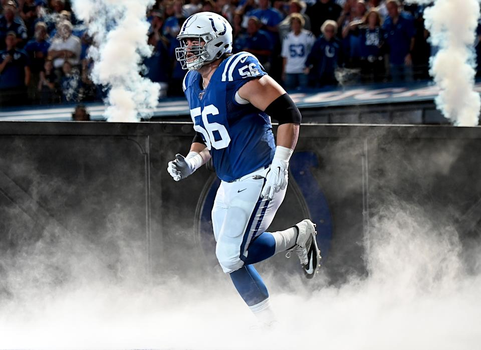 INDIANAPOLIS, IN - SEPTEMBER 22: Quenton Nelson #56 of the Indianapolis Colts takes the field before the start of the game against the Atlanta Falcons at Lucas Oil Stadium on September 22, 2019 in Indianapolis, Indiana. (Photo by Bobby Ellis/Getty Images)