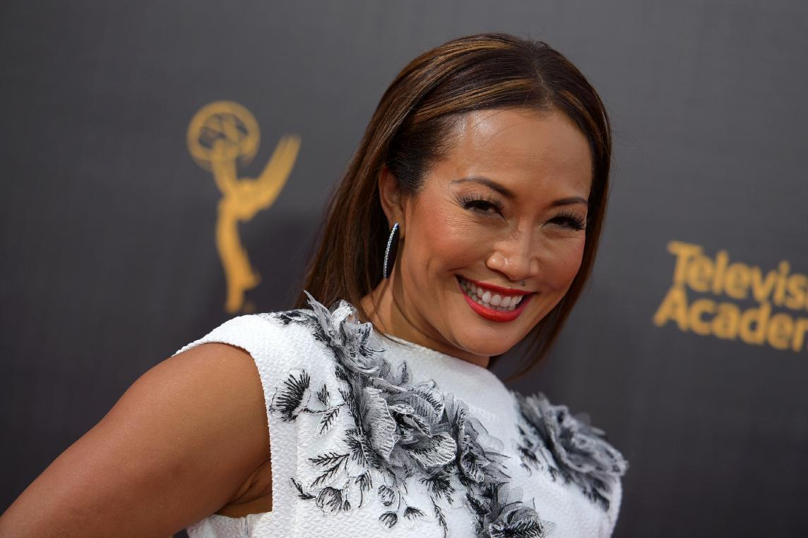 FILE - In this Sept. 11, 2016, file photo, Carrie Ann Inaba arrives at night two of the Creative Arts Emmy Awards at the Microsoft Theater in Los Angeles. Inaba announced her engagement to soap opera star Robb Derringer on Dec. 14, 2016. (Photo by Richard Shotwell/Invision/AP, File)