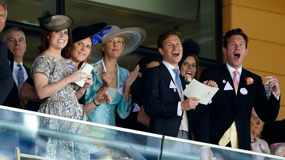 ASCOT, UNITED KINGDOM - JUNE 19: (EMBARGOED FOR PUBLICATION IN UK NEWSPAPERS UNTIL 48 HOURS AFTER CREATE DATE AND TIME) Prince Andrew, Duke of York, Princess Eugenie, Sarah Ferguson, Duchess of York, Catrina Skepper, Countess Guerrini-Maraldi, Dave Clark, Princess Beatrice and Jack Brooksbank watch the racing as they attend day 4 of Royal Ascot at Ascot Racecourse on June 19, 2015 in Ascot, England. (Photo by Max Mumby/Indigo/Getty Images)