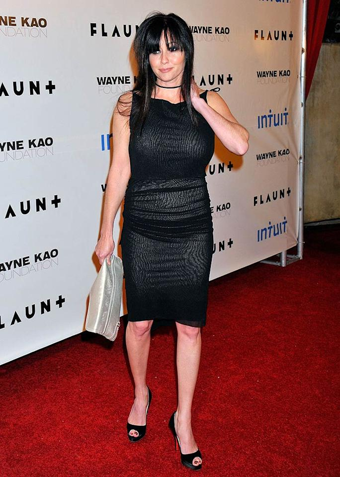 "Shannen Doherty'a peep-toe Louboutin's were the only flattering part of her outfit. Charley Gallay/<a href=""http://www.gettyimages.com/"" target=""new"">GettyImages.com</a> - December 18, 2008"