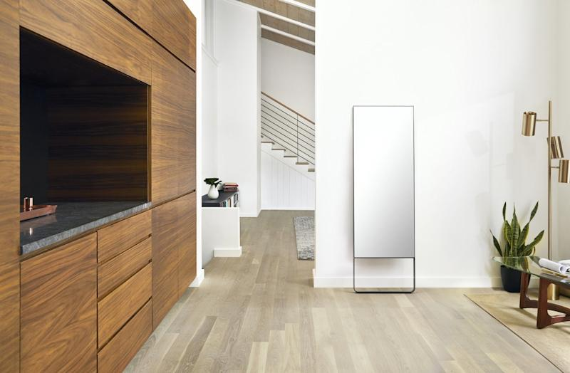When not in use, Mirror looks and acts just like a normal full-length mirror, and can be mounted on the wall or sit on the floor.