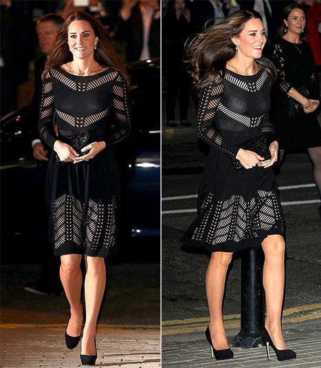 Kate Middleton Accentuates Baby Bump In Black Knit Flare Dress: Picture