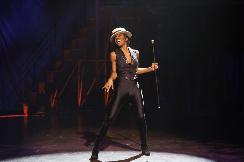 """This undated publicity photo provided by American Repertory Theater shows Patina Miller as the Leading Player in a production of """"Pippin,"""" at the American Repertory Theater in Cambridge, Mass. (AP Photo/ American Repertory Theater, Michael J. Lutch)"""