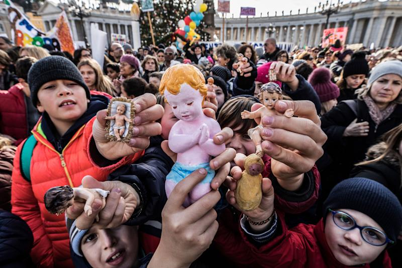 Following a custom started by the late Pope John Paul II, Pope Francis blessed Nativity figurines brought by pilgrims on Dec.17, 2017 at the Vatican.