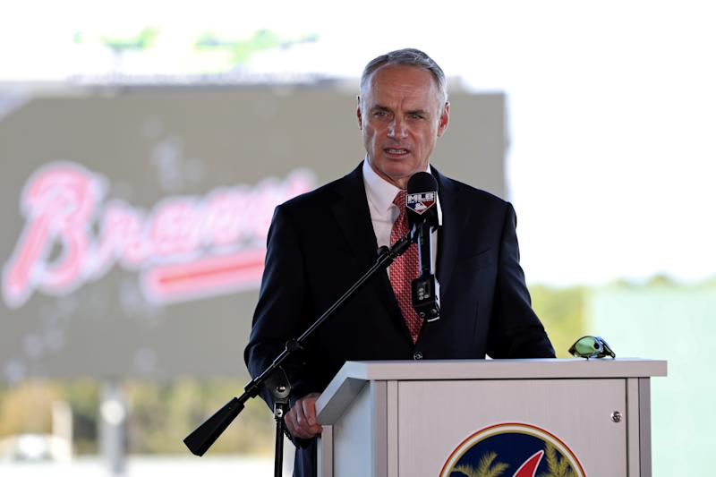NORTH PORT, FL - FEBRUARY 16: Major League Baseball Robert D. Manfred Jr. talks to the media during the Grape Fruit League Media Availability press conference at CoolToday Park on Monday, February 16, 2020 in North Port, Florida. (Photo by Mary DeCicco/MLB Photos via Getty Images)