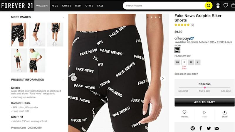 Forever 21 faces backlash for Fake News graphic biker shorts. (Photo: Forever 21)