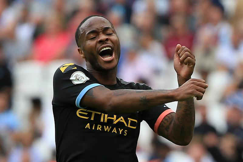 LONDON, ENGLAND - AUGUST 10: Raheem Sterling of Manchester City celebrates after scoring his team's fifth goal during the Premier League match between West Ham United and Manchester City at London Stadium on August 10, 2019 in London, United Kingdom. (Photo by Tom Flathers/Manchester City FC via Getty Images)