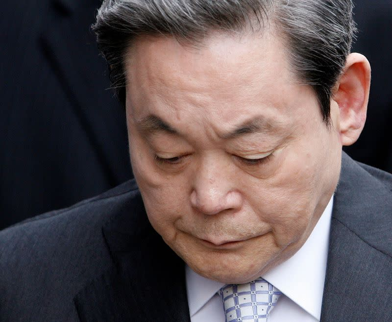FILE PHOTO: Lee Kun-hee, the chairman of Samsung Group, appears at an office of a special prosecutor to answer questions in Seoul
