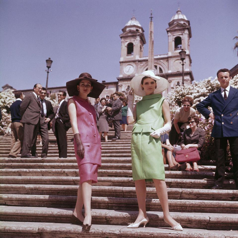 <p>These aren't your regular skirt suits. With an exaggerated neckline and a dropped waist, these had extra flair.</p>