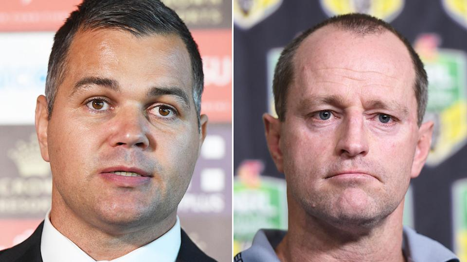Former Rabbitohs assistant Anthony Seibold is seen here with former head coach Michael Maguire.