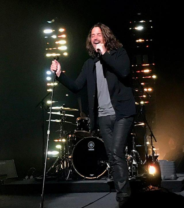 Chris Cornell as he performed with Soundgarden in Detroit at the Fox Theatre on May 17th, 2017. Chris was found dead in his hotel room after the show due to an apparent suicide. <br>(Photo: Splash News)