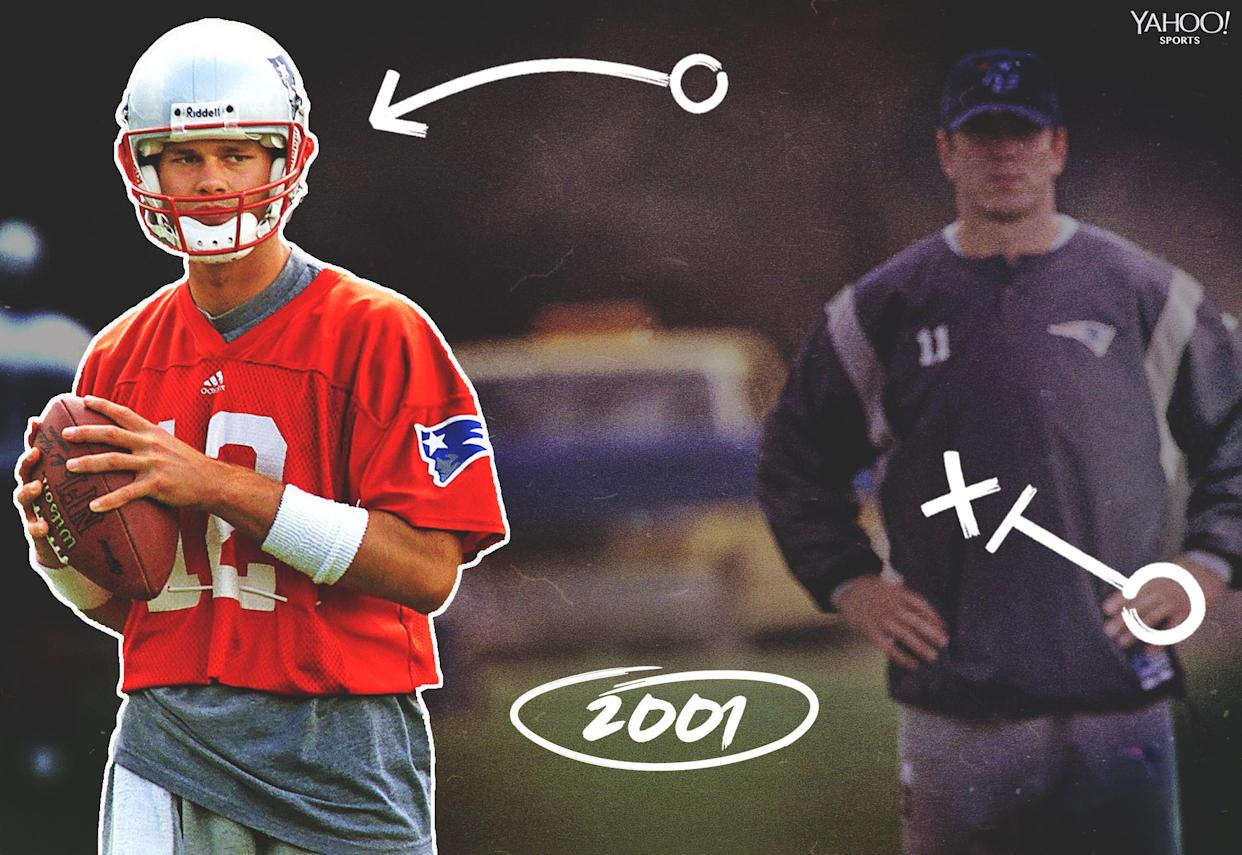 Tom Brady was confident he would supplant Drew Bledsoe (R) as the starter in New England. (Getty Images)
