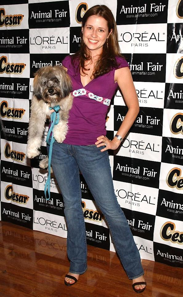 "Jenna Fischer poses with her pooch at a pet fashion show and charity auction. Jean-Paul Aussenard/<a href=""http://www.wireimage.com"" target=""new"">WireImage.com</a> - July 19, 2005"