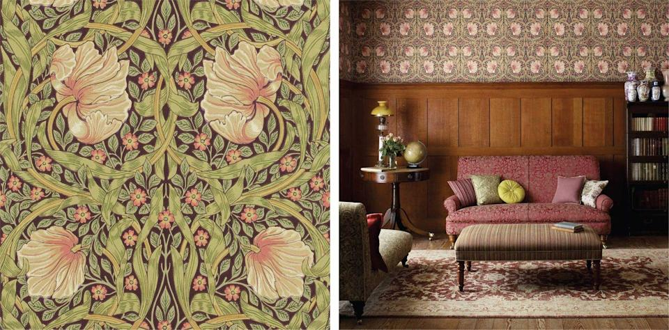 "<p>British textile designer and activist <a href=""https://www.sandersondesigngroup.com/morris&co/"" rel=""nofollow noopener"" target=""_blank"" data-ylk=""slk:William Morris"" class=""link rapid-noclick-resp"">William Morris</a> designed this pattern in 1876, using it in his own dining room at Kelmscott House, which is now a historic landmark in the Cotswolds. A favorite among designers and celebrities alike, it's been spotted in both Liv Tyler and Kate Hudson's homes. </p>"