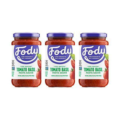 """<p><strong>FODY Food Co</strong></p><p>amazon.com</p><p><a href=""""https://www.amazon.com/dp/B01N6T801J?tag=syn-yahoo-20&ascsubtag=%5Bartid%7C10055.g.32971830%5Bsrc%7Cyahoo-us"""" rel=""""nofollow noopener"""" target=""""_blank"""" data-ylk=""""slk:Shop Now"""" class=""""link rapid-noclick-resp"""">Shop Now</a></p><p>If you have IBS and are following a <a href=""""https://www.goodhousekeeping.com/health/diet-nutrition/a30629819/what-is-low-fodmap-diet/"""" rel=""""nofollow noopener"""" target=""""_blank"""" data-ylk=""""slk:low-fodmap diet"""" class=""""link rapid-noclick-resp"""">low-fodmap diet</a>, you know that it can be very hard to find a pasta sauce that fits the bill. Since onions and garlic are high-fodmap, most tomato sauces are already off the menu. But <strong>FODY Foods has designed a line of all digestive-friendly sauces and condiments that are free from those high-fodmap irritating foods. </strong>A whole one cup serving only has 70 calories and 300mg sodium, and the ingredients are simple: chopped tomatoes, tomato paste, extra virgin olive oil, salt, and basil.</p>"""