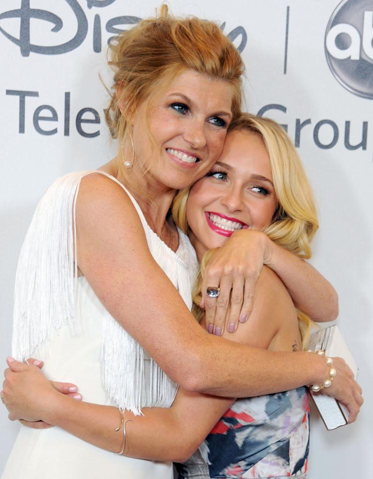 "Connie Britton and Hayden Panettiere ""Nashville"") arrive at the Disney/ABC Television Group Summer 2012 Press Tour Party at The Beverly Hilton Hotel on July 27, 2012 in Beverly Hills, California."