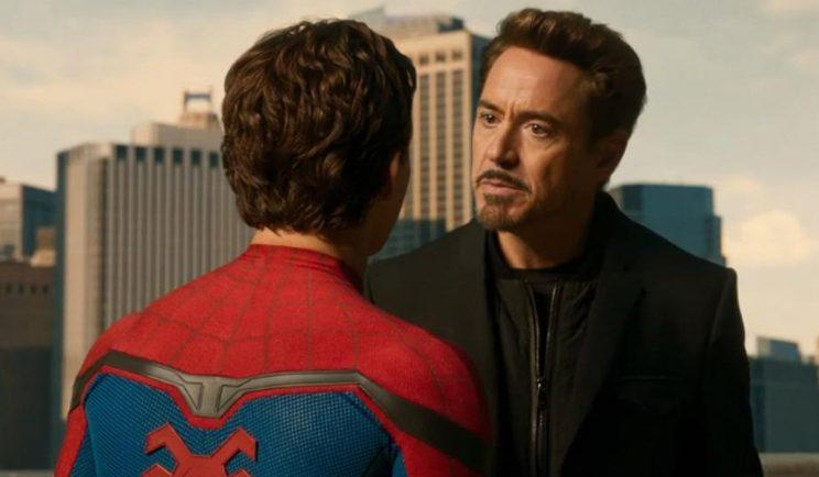 Robert Downy Jr teaches Spidey a thing or two - Credit: Sony