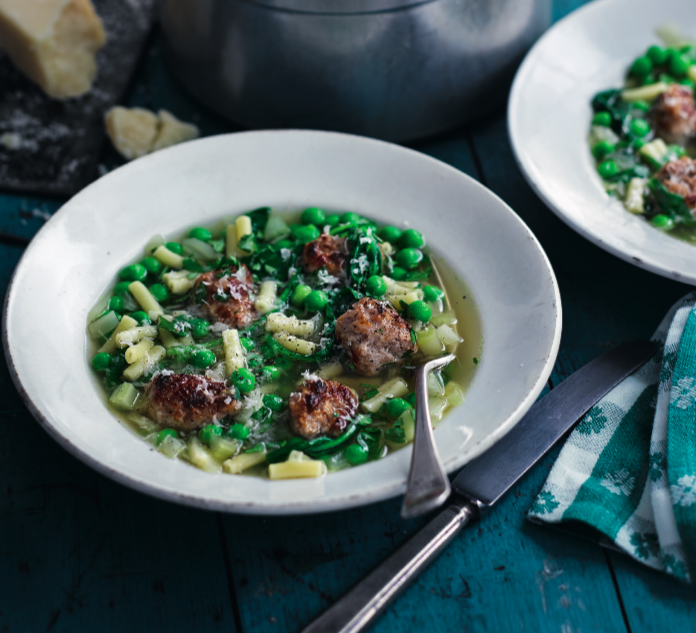 """<p>A fast, warming and hearty supper, this Italian meatball soup is just the thing for grey days when you've got just 30 minutes to serve up something comforting.</p><p><a class=""""link rapid-noclick-resp"""" href=""""https://www.redonline.co.uk/food/recipes/a32729000/sausage-minestrone-soup-recipe/"""" rel=""""nofollow noopener"""" target=""""_blank"""" data-ylk=""""slk:SAUSAGE GREEN MINESTRONE SOUP RECIPE"""">SAUSAGE GREEN MINESTRONE SOUP RECIPE</a></p>"""