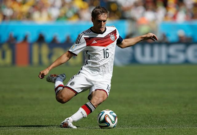 This photo taken on July 4, 2014 shows Germany's defender and captain Philipp Lahm during the quarter-final football match between France and Germany at the Maracana Stadium in Rio de Janeiro during the 2014 FIFA World Cup (AFP Photo/Adrian Dennis)
